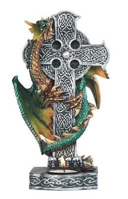 Green Dragon Wrapped Around Cross Candle Holder Fantasy Home Decoration New
