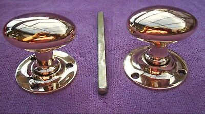 Pair Of Genuine Antique Bronze Door Knobs On Backplates With Shaft - Polished