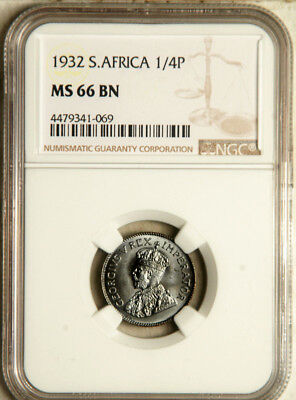 Ngc Ms-66 South Africa 1/4 Penny Farthing 1932