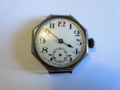 ANTIQUE FINE SILVER CASED WW1 PERIOD TRENCH WATCH - Spares or repair!