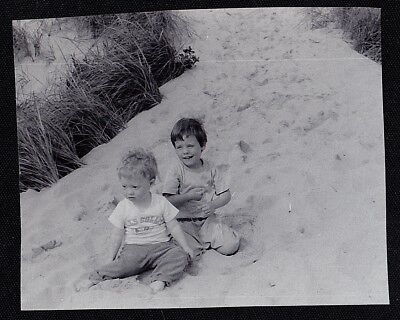 Vintage Antique Photograph Two Adorable Little Babies Sitting in the Sand