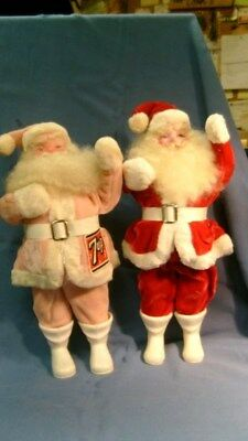 2 Vintage SANTA DOLLS Red Pink 7UP Patch Christmas Straw body