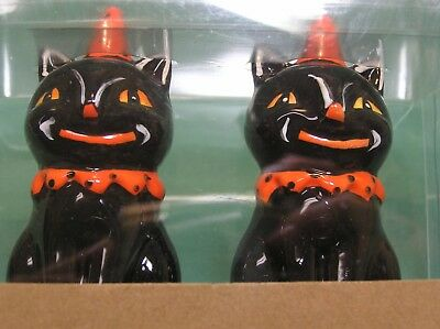 ceramic Halloween Black Smiley Cat Party Hat Salt & Pepper Shaker Set new sealed