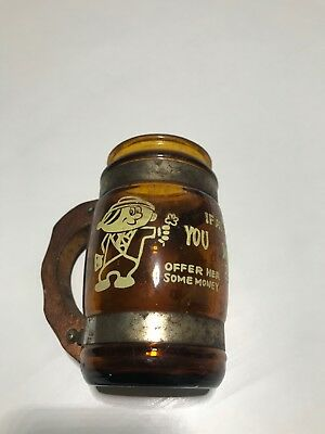 Antique Glass Cup - Wooden Handle MADE IN TAIWAN - OLD RARE FIND! Cartoon