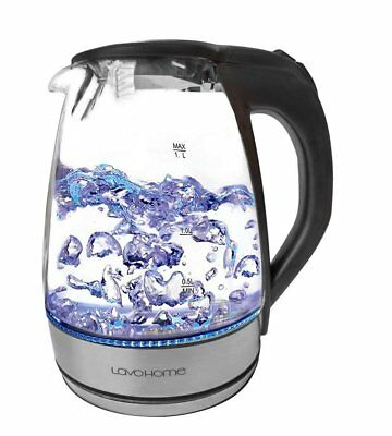 Precision 1.7L Cordless Glass Electric Hot Water BPA Free Tea Kettle Blue LED...