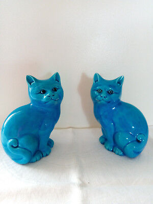 Pair Vintage Turquoise Chinese Foo Cats - Excellent