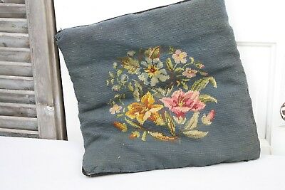 Antique Needlepoint Pillow or Cushion Blue Floral Hand Stitched to Backing
