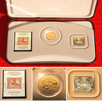 2001 First Canadian Postage Stamp 3 Cent Beaver Coin, Stamp & Medal Silver Set