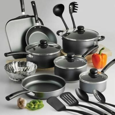 Nonstick Cookware Set Pots And Pans Kitchen Utensil 18-Pcs Steel Gray New
