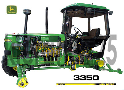 A3 John Deere Tractor 3350 Cutaway Agriculture Wall Poster Brochure Picture