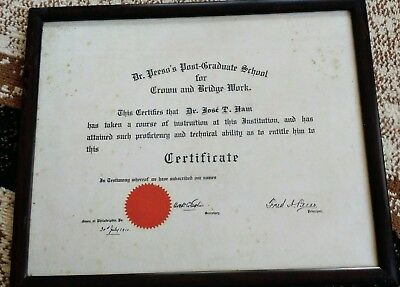 1910 Dr. Peeso's Postgraduate School Crown Bridge Certification Diploma