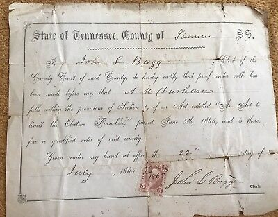 1865 Sumner County Tn. Voters Oath Certificate Very Rare
