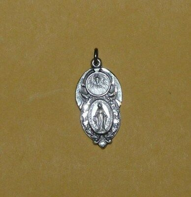 "Vintage~Sterling~Silver~Catholic~Religious~Mother~Mary~Jesus~Medal~Signed~""hmh""~"