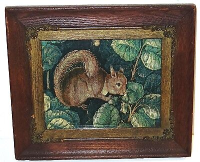 ANTIQUE Color TAPESTRY of a SQUIRREL in a PERIOD OAK WOOD FRAME~LOT #2! NR!