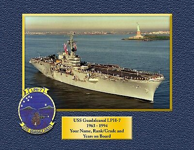 USS GUADALCANAL LPH7 Custom Personalized Print of US Navy Gift Idea