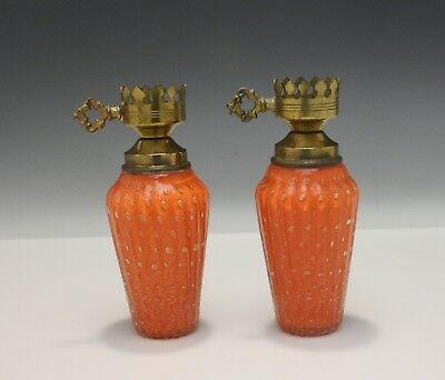 Pair of Vintage Mid-Century Murano Italian Art Glass Lamps Orange with Gold