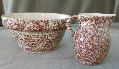 Vintage Spongeware Spatterware Milk Pitcher And Mixing Bowl Lot Of 2 Nice!!
