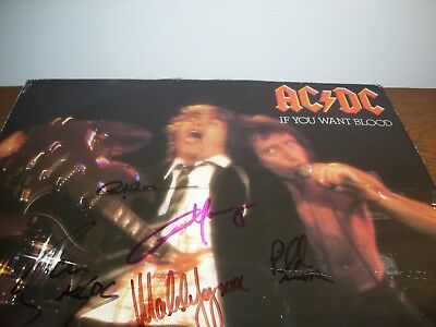 Super Rare Bon Scott Signed Ac/dc Group (5) Signed 1978 German Made Live Album!