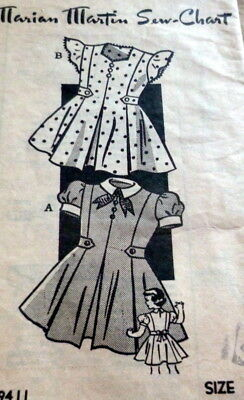 LOVELY VTG 1940s GIRLS DRESS MARIAN MARTIN Sewing Pattern 4