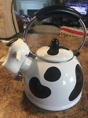 Awesome Kamenstein Whistling Cow Enamel Teapot Tea Pot Kettle with Bell Kitchen
