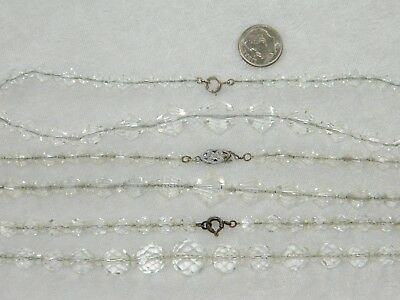 3 Vintage Art Deco Era Chain Strung Faceted Clear Glass Bead Necklaces