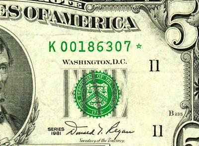 ** STAR ** $5 1981 Federal Reserve Note  ** MORE CURRENCY FOR SALE **