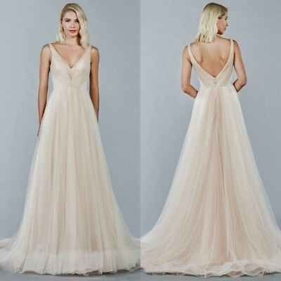 Cheap Wedding Dresses A Line Bridal Gowns Plus Size V Neck Backless Pleated 2019