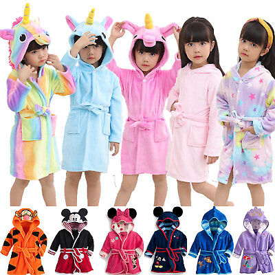 Kids Unisex Unicorn Animal Bath Robe Dressing Gown Pajamas Sleepwear Nightwear