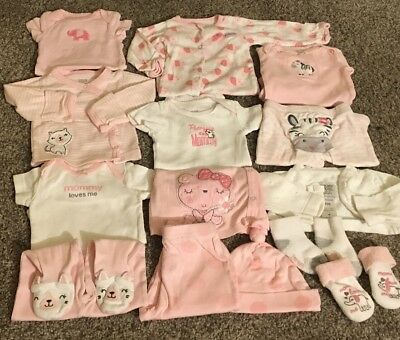 Baby Girl Lot NEWBORN Sets Baby Outfits Clothes NB 12 Piece LOT Elephants Zebra