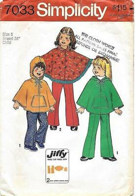 VTG SIMPLICITY 7033 CHILD'S Size 5 JIFFY PONCHO & PANTS SEWING PATTERN Complete