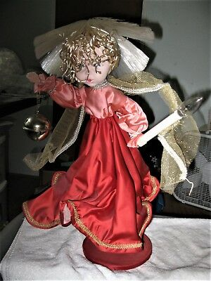 """Large Vintage Angel w/Bell & Candle Light w/Wood Pedestal 24"""" Tall BEAUTIFUL"""