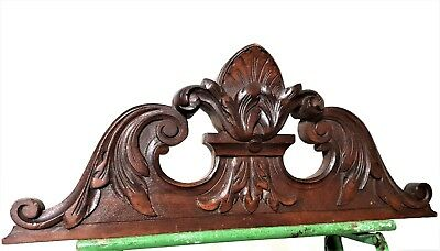Achitectural cottage scroll leaves pediment antique french salvaged furniture