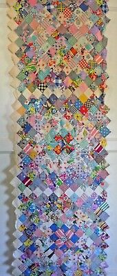 Vintage Postage Stamp PHILADELPHIA PAVEMENT Quilt Block Piece 1930-50's Prints