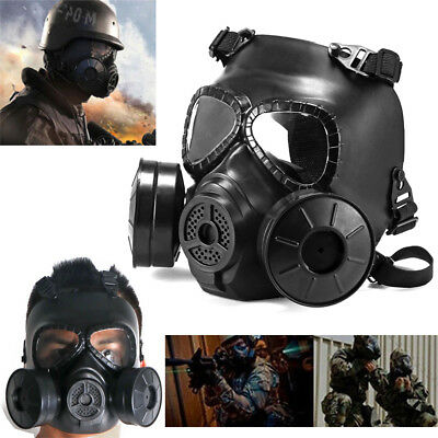 Black Airsoft Gas Mask Double Filter Fan CS Edition Perspiration Dust Face Guard