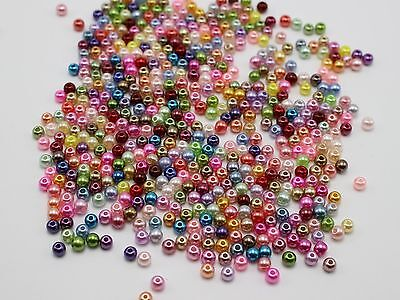 2000 Mixed Color 3mm Plastic Faux Pearl Round Beads Imitation Pearl Seed Beads