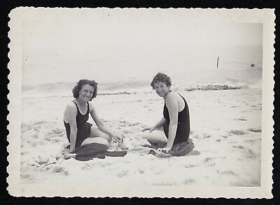 Vintage Antique Photograph Two Women Sitting in Sand at the Beach