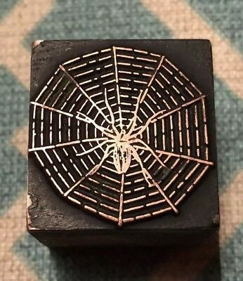Vintage / Antique Letterpress Wood Printer's Type,spider Web And Spider.
