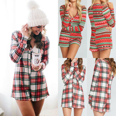 UK Xmas Womens Long Sleeve Plaid Playsuit Ladies Mini Dress Buttons Jumpsuit