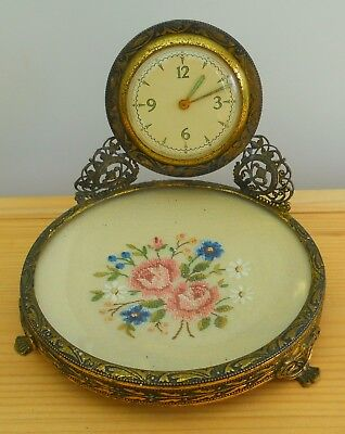 Antique Vintage Clock Filigree Brass With Embroidered Pin Dish ~ Working