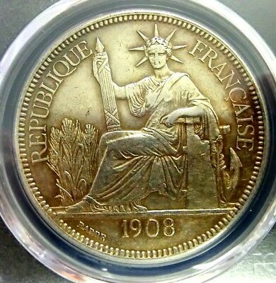 PCGS AU Detail Secure-French Indo-China 1908A Seated Liberty Silver 1 Piastre