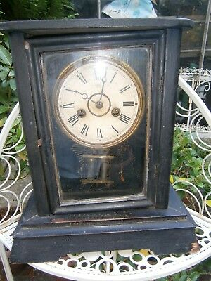Rare Antique Junghans Germany Wooden Cased Cottage Clock Mantel Clock