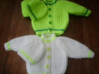 Hand Knitted  Newborn Baby Cardigans  with matching hats  TWINS bright colours