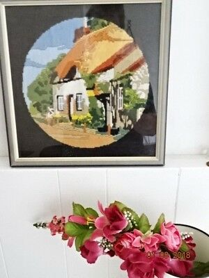 VINTAGE HAND EMBROIDERED framed TAPESTRY - Thatched Cottage Garden