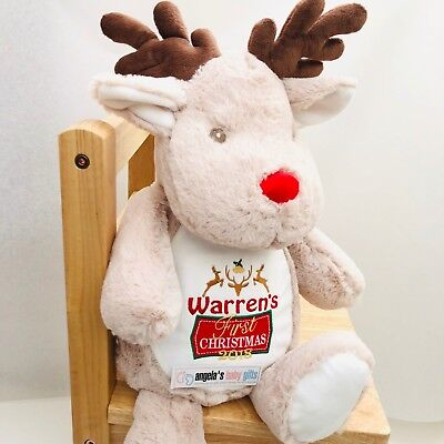 Personalised Embroidered 1st First Christmas Reindeer / Penguin Teddy Bear Baby