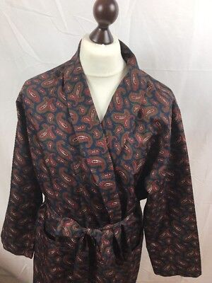 Vintage St Michael Sz L Burgundy Paisley Dressing Gown Smoking Jacket Robe Mens