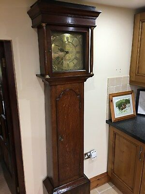 Antique oak longcase clock  grandfarther clock  oak  brass dial 30 Hour