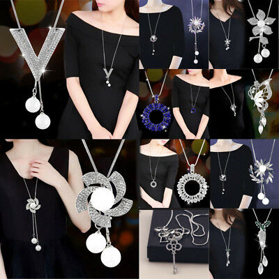 Fashion  Flower Long Necklace Sweater Chain Crystal Women Jewelry Gift Long