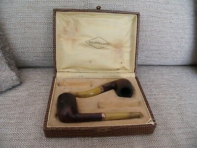 Pair Of Vintage Real Briar French Pipes In Original Box Yellow Amber Effect Stem