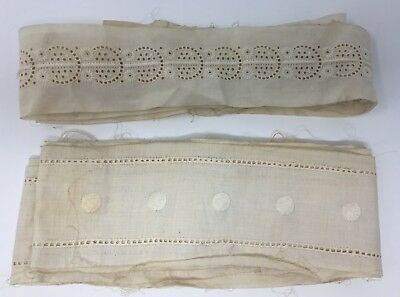 Vintage Lot Of 2 Embroidered Eyelet Petticoat Dress Trim Ladies Or Doll Clothes