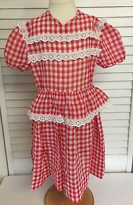 Vintage 1950's Girls Red & White Checkered Dress With Flower Eyelets Trim